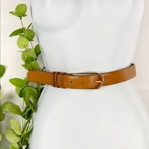 Field Manor Italy Brown Leather Belt Thin Gold VTG